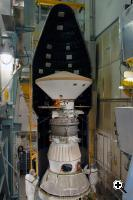 The first half of the fairing is installed around the Phoenix spacecraft (Credit: NASA)