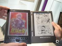 Fujitsu prototype color e-book reader (left) and Irex Iliad (right)