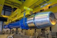 Last dipole of the LHC lowered (Credit: CERN)