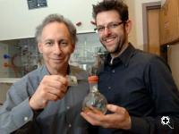 MIT Institute Professor Robert Langer and faculty member Jeffrey Karp, both affiliated with the Harvard-MIT Division of Health Sciences and Technology, display an adhesive they developed that was inspired by the gecko and may have medical and surgical applications. Photo / Donna Coveney