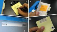 MIT's Quickies - (A) User writes on a sticky note (B) User tags a book with the note (C) User searches notes related to the word 'Pattie'. (D) A sticky note with the RFID tag on back (Credit: MIT)