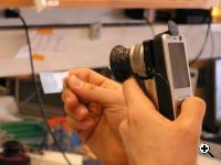 CellScope in action: Examining a microscope slide (Credit: Berkeley University)