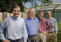 The memristor team: (from left) Dmitri Strukov, Stan Willams, Duncan Stewart, Greg Snider (Credit: Brett Bausk, HP)