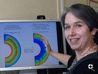 MIT planetary scientist Linda Elkins-Tanton, Mitsui Career Development, Professor of Geology in the Department of Earth, Atmospheric, and Planetary Sciences, views profile showing that hot, young planets may be easier to spot because they stay hot longer than astronomers have thought. (Image credit: Donna Coveney)