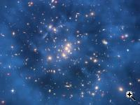 What is visible in the above image, first and foremost, are many spectacular galaxies that are part of CL0024+17 itself, typically appearing tan in color. Next, a close inspection of the cluster center shows several unusual and repeated galaxy shapes, typically more blue. These are multiple images of a few distant galaxies, showing that the cluster is a strong gravitational lens. The relatively weak distortions of the many distant faint blue galaxies all over the image, however, indicates the existence of the dark matter ring. The computationally modeled dark matter ring spans about five million light years and has been digitally superimposed to the image in diffuse blue. (credit: NASA, ESA, M. J. Jee and H. Ford et al. (Johns Hopkins University)
