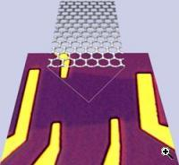 An optical microscope image of the graphene device. The yellow parts are gold electrodes, the slightly darker purple area is the graphene, and the lighter purple is the bare SiO2/Si substrate (Credit: University of Maryland)