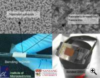 Bendable nanowires in different resolutions (Credit:Singapore National Electronics Institute)