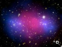 A powerful collision of galaxy clusters has been captured by NASA's Hubble Space Telescope and Chandra X-ray Observatory. This clash of clusters provides striking evidence for dark matter and insight into its properties (Credit: NASA)