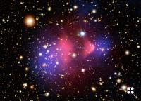 A composite image shows the galaxy cluster 1E 0657-56, also known as the