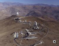 The original ESO observing site is on the mountain La Silla in the southern part of the Atacama desert, 600 km north of Santiago de Chile and at 2400 m altitude. Here, ESO operates several optical telescopes with mirror diameters of up to 3.6 meters. (Credit: ESO, European Organisation for Astronomical Research in the Southern Hemisphere)