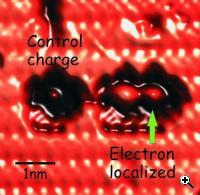 This frame demonstrates control over that single electron and the potential to do computations in a new way. The electric field from the control charge pushes the electron to prefer staying on only one of the quantum dots. (Credit: Prof. Robert A. Wolkow, University of Alberta)