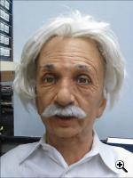The Einstein robot head at UC San Diego performs asymmetric random facial movements as a part of the expression learning process. (Credit: University of California)