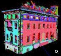 A three dimensional model of a building generated by AVENUE (Source: Columbia University)