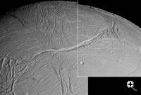 This spectacular view is a mosaic of four high resolution images taken by the Cassini spacecraft narrow angle camera on Feb. 16, 2005, during its close flyby of Saturn's moon Enceladus (Credit: NASA/JPL/Space Science Institute)