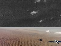 Cassini radar sees sand dunes on Saturn's giant moon Titan (upper photo) that are sculpted like Namibian sand dunes on Earth (lower photo). The bright features in the upper radar photo are not clouds but topographic features among the dunes. (Source: NASA/JPL (upper photo); NASA/JSC (lower photo)