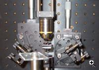 Equipment in Crozier's lab used to shine light through a prism onto silicon chips with gold films. (Source: Harvard University)