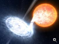 GX 339-4, illustrated here, is among the most dynamic binaries in the sky, with four major outbursts in the past seven years. In the system, an evolved star no more massive than the sun orbits a black hole estimated at 10 solar masses. (Source: ESO/L. Calçada)