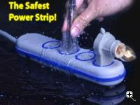 The Wet Circuits power strip is independently wired and power only flows to an individual socket when an actual plug is fully inserted into it. (Source: Shohero Technologies, Ltd.)