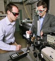 The research team from Princeton's Department of Mechanical and Aerospace Engineering that developed the air laser technology includes James Michael (left), a doctoral student, and Arthur Dogariu, a research scholar. (Credit: Frank Wojciechowski)