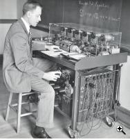 Arnold T. Nordsieck demonstrating the solution of the Van der Pol equation on his