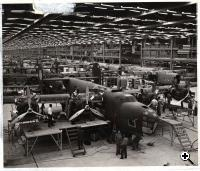 "Final assembly of B-24 bombers at the ""Willow Run"" factory (National Air & Space Museum)"
