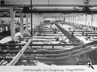 Compromise at the Volkswagen Fellersleben factory: highly mechanized production line using an old fashion layout to manufacture medium bomber wings (US National Archives)