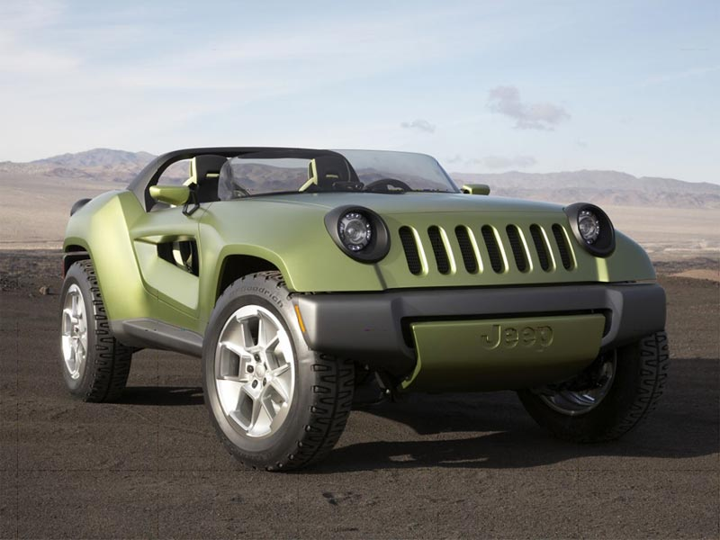 One Of These Is The Jeep Renegade Concept A Green Sporty Two Seater Vehicle Constructed Out Environmentally Friendly Materials