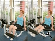 A leg extension machine used to work the muscles of the lower body. Source: George Stepanek.