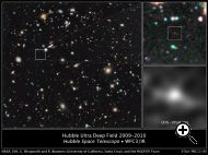 The farthest and oldest galaxy ever seen is a red blob in this infrared image taken by the Wide Field Camera 3 on the Hubble Space Telescope. Source: NASA, ESA, G. Illingworth (University of California, Santa Cruz), R. Bouwens (University of Californ