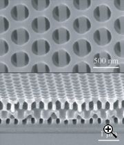 A 3D nanostructure with layers as seen by a Scanning Electron Microscope. Source: MIT