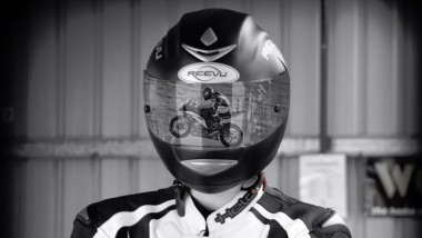 First Motorcycle Helmet with Rear Vision